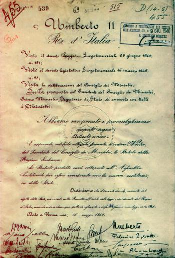 Prima pagina dello statuto della Regione Siciliana