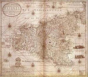 Una cartina geografica antica della Sicilia