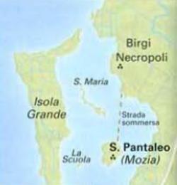 Mappa che indica l'isola di Mozia - Menu' Fenicio