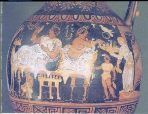 Scena di banchetto con offerta di frutta e dolci. Particolare del Cratere a campana, seconda metà del IV sec. a.C. Museo Archeologico Nazionale, Napoli
