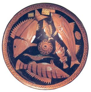 Riproduzione di pesci. Piatto, IV sec. a.C. Museo Archeologico Nazionale, Napoli