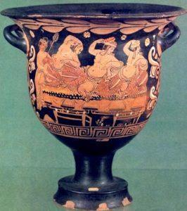 Scena di simposio. Cratere a campana, seconda metà del IV sec. a.C. Museo Archeologico Nazionale, Napoli