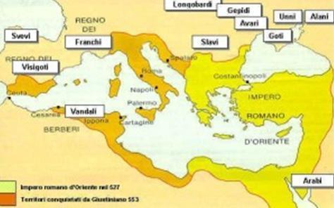 Mappa dei territori durante il periodo dei Vandali