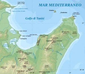 Mappa del golfo di tunisi