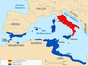 Mappa dei territori nel 265 aC