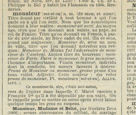 Descrizione di monsieur, origine del nome Monsù