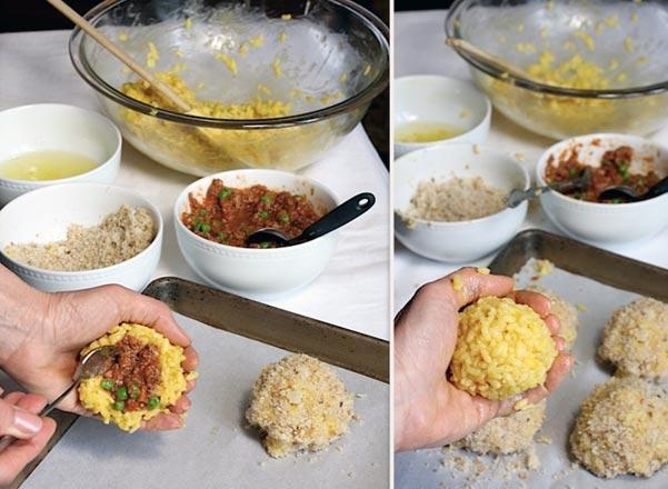 Preparazione arancino siciliano