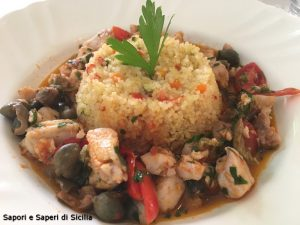 Cous cous di verdurine e zuppetta di pesce